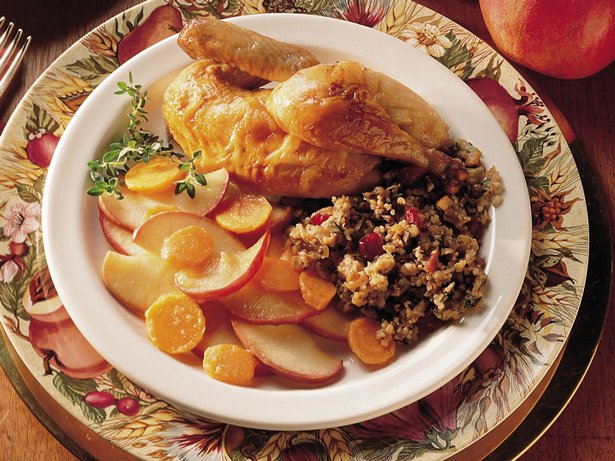 Cornish Hen with Bulgur-Bacon Stuffing
