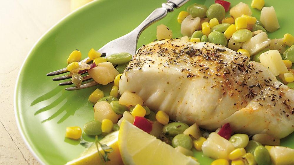 Halibut with Potato Succotash