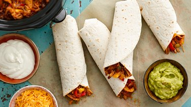 Slow-Cooker Barbecued Pulled-Pork Fajitas