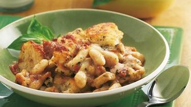 Chicken and White Bean Bruschetta Bake