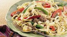 Fettuccine with Beef and Peppers Recipe