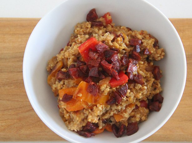 Steel Cut Oatmeal with Chorizo, Peppers and Onions