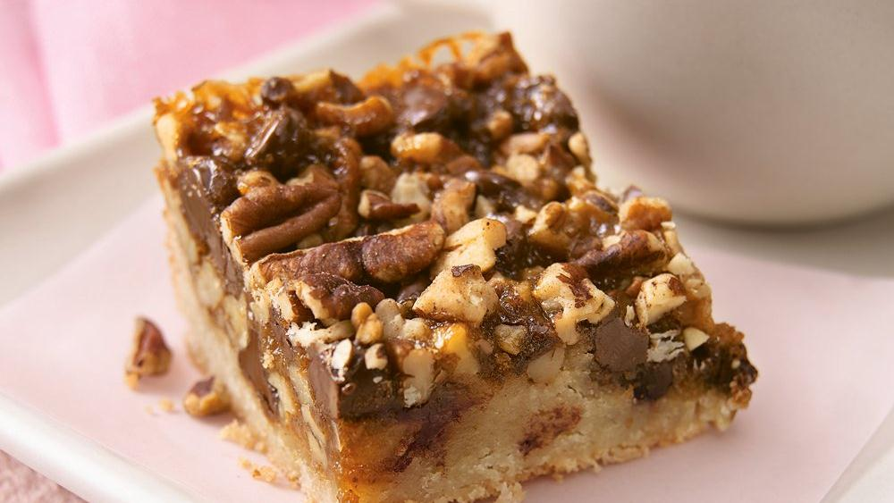 Caramel Turtle Bars Recipe — Dishmaps