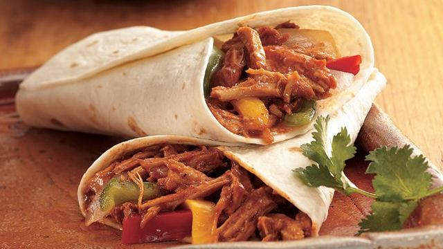 Slow Cooker Barbecued Pulled-Pork Fajitas