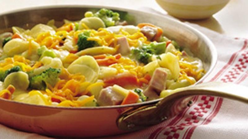 Skillet Ham and Vegetables au Gratin