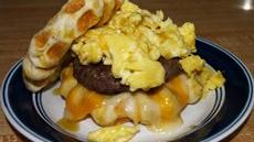 Waffle Biscuit Sausage, Egg, & Cheese Sandwich Recipe
