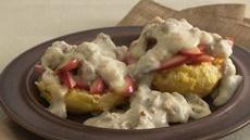 Apple-Topped Biscuits with Sausage Gravy Recipe