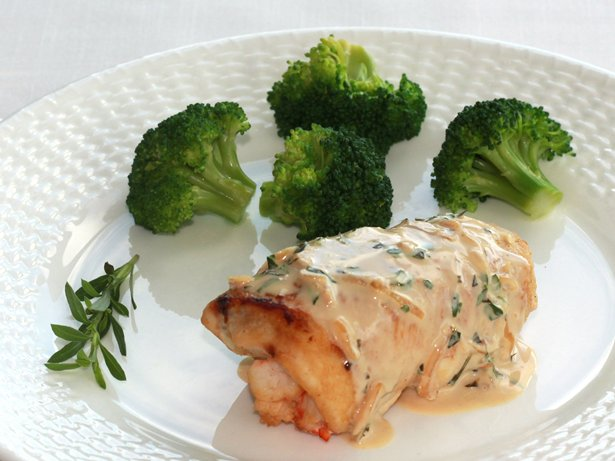 Shrimp-Filled Chicken Breasts in Champagne Sauce