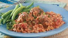 Creamy Tomato, Meatballs and Rice Bake Recipe
