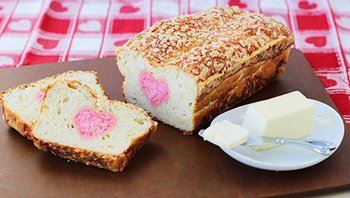 Parmesan Crusted Heart Reveal Bread