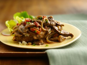 Beef and Vegetable Stroganoff-Topped Potato
