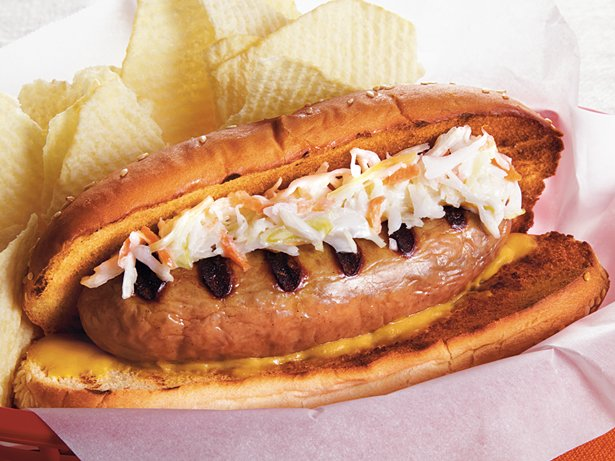 Turkey Brats with Sweet Slaw