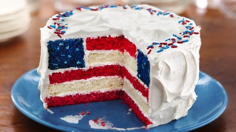 Red, White and Blue Layered Flag Cake recipe from Betty Crocker