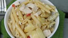 Roasted Chicken and Artichoke Penne with Creamy Gouda Sauce Recipe