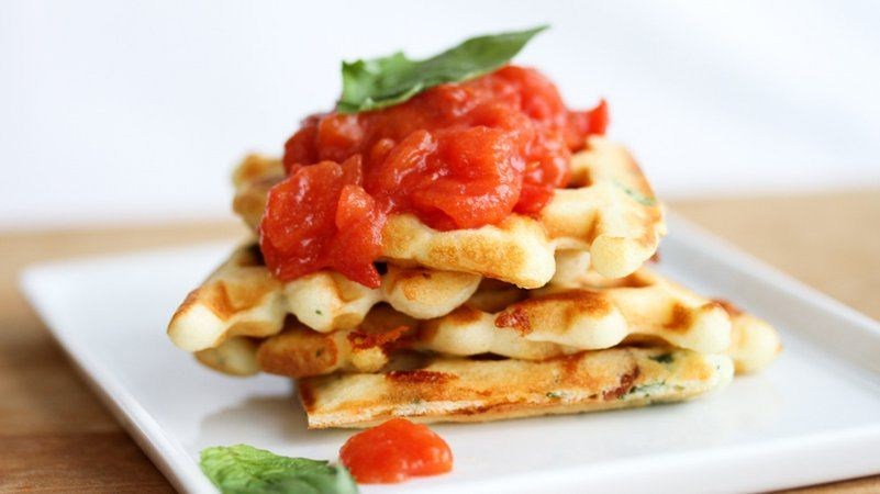 Loaded Bacon, Cheddar and Basil Waffles with Tomato Jam