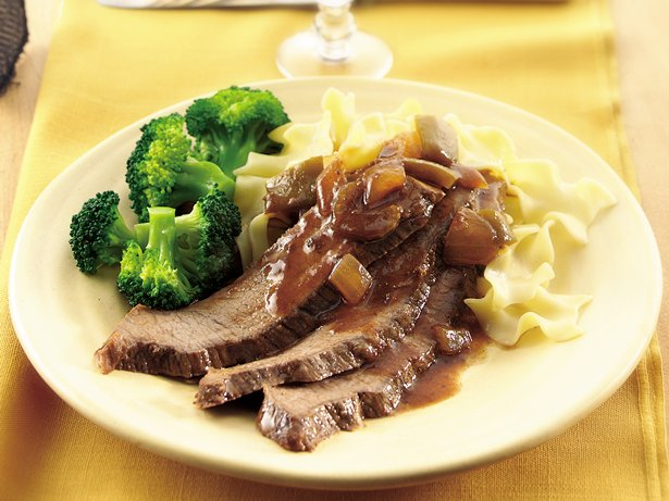 Slow Cooker Brisket with Chunky Mustard BBQ Sauce
