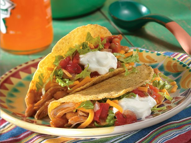 Slow Cooker Chicken and Bean Tacos