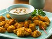 Oven-Fried Chicken Chunks with Peanut Sauce