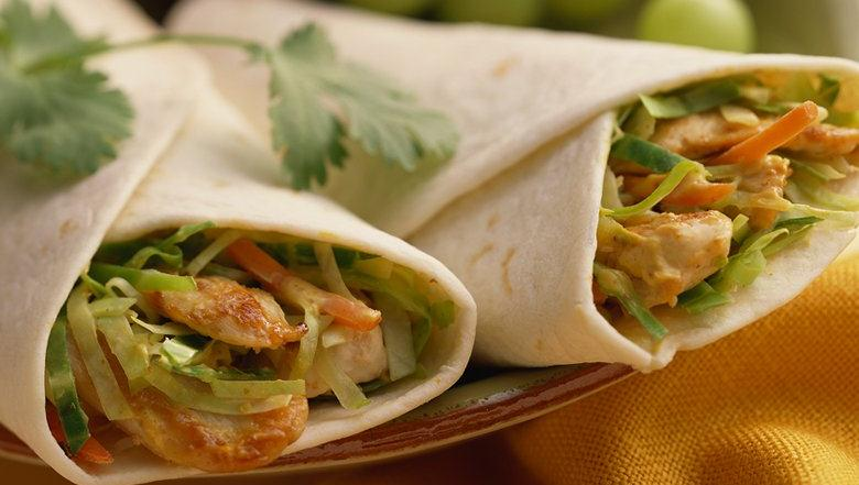 Crispy Cabbage and Chicken Wraps