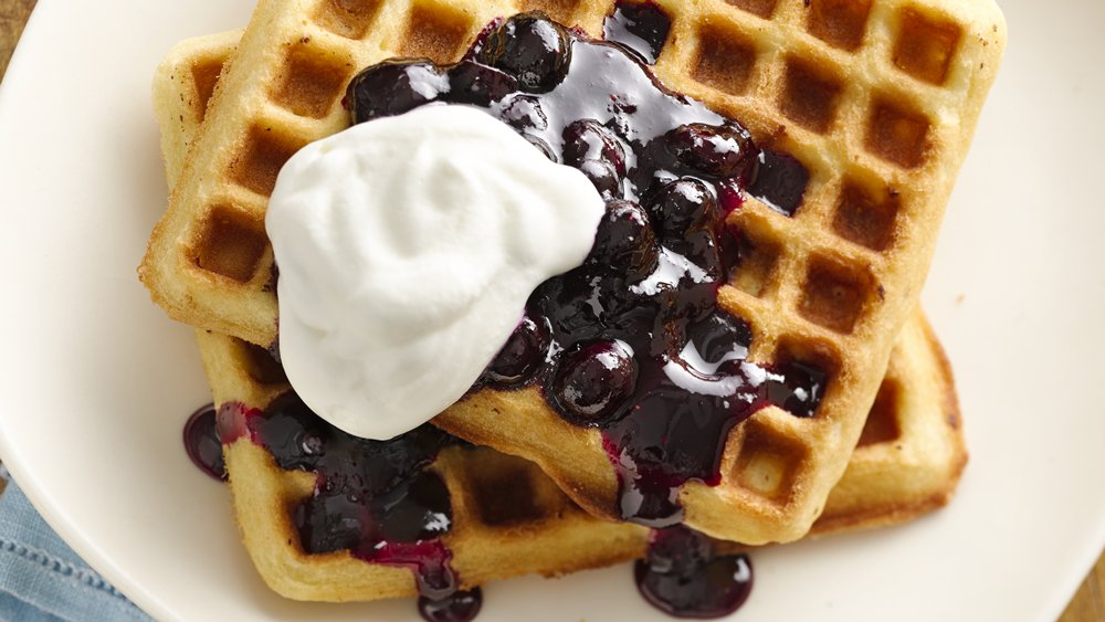 Lemon Blueberry Macadamia Waffles