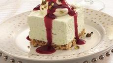 Frozen Pistachio Cream Dessert with Ruby Raspberry Sauce Recipe