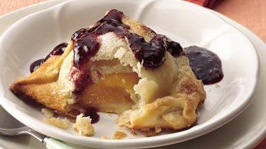 Peach Dumplings with Raspberry Sauce