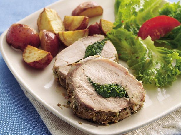 Spinach and Basil-Stuffed Pork Tenderloin