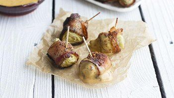 Bacon Wrapped Artichoke Bites with Chipotle Aioli