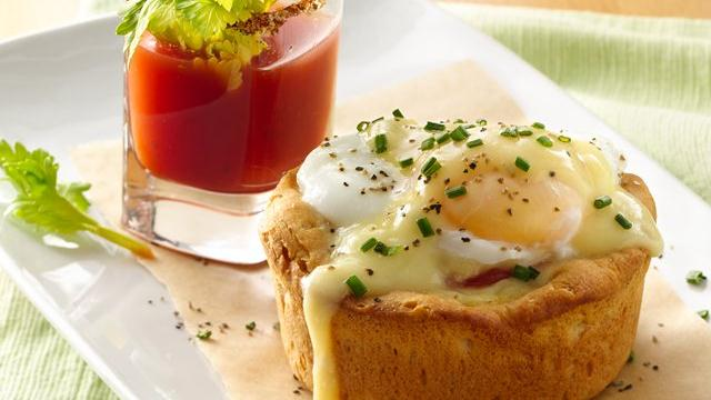 Eggs Benedict Biscuit Cups with Bloody Mary Shooters