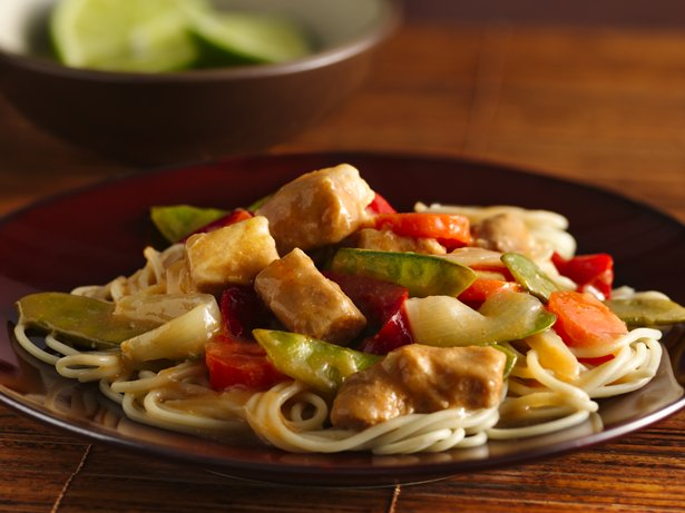 Slow Cooker Thai Orange Pork Lo Mein