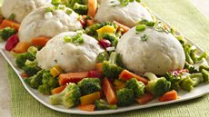Asian Chicken Steam Buns over Vegetables Recipe
