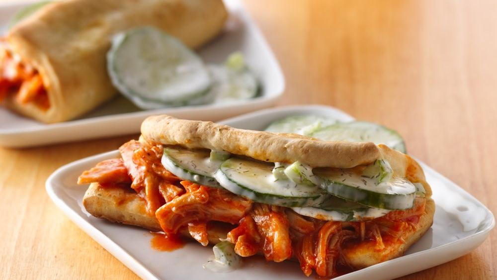 Kickin' Chicken Sandwiches with Cucumber Topping