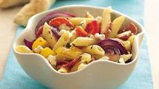 Roasted Sweet Pepper Pasta Salad with Herbs and Feta Recipe