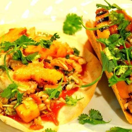 Grilled Chicken and Pineapple Tacos with Cabbage and Mango Slaw