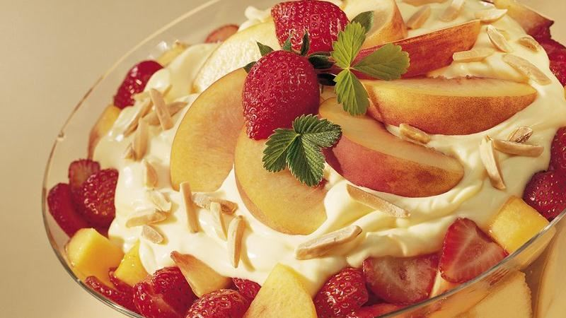 Strawberry and Peach Cream Trifle