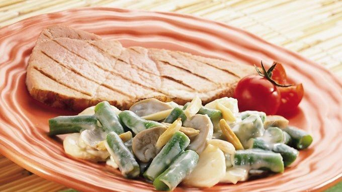 Cheesy Green Bean Casserole with Water Chestnuts and Mushrooms recipe ...