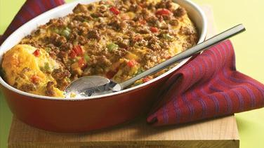 Cheesy Sausage and Biscuit Breakfast Bake