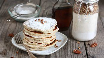 Snowball Cookie Layered Pancake Jars