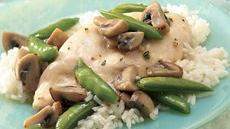 Chicken, Mushrooms and Sugar Snap Peas Over Rice Recipe