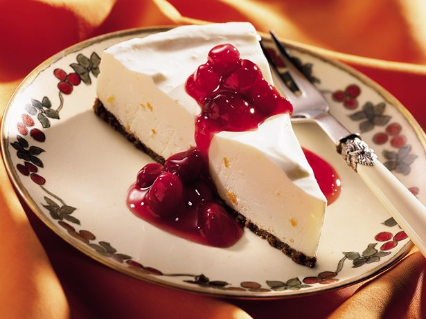 Orange Crème Dessert with Ruby Cranberry Sauce