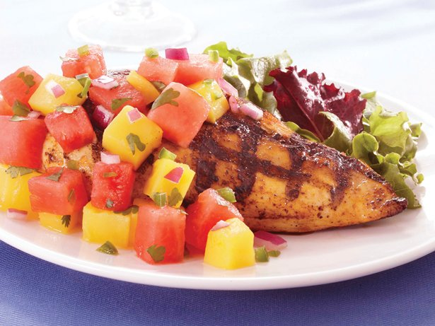 Chicken with Watermelon-Mango Salsa