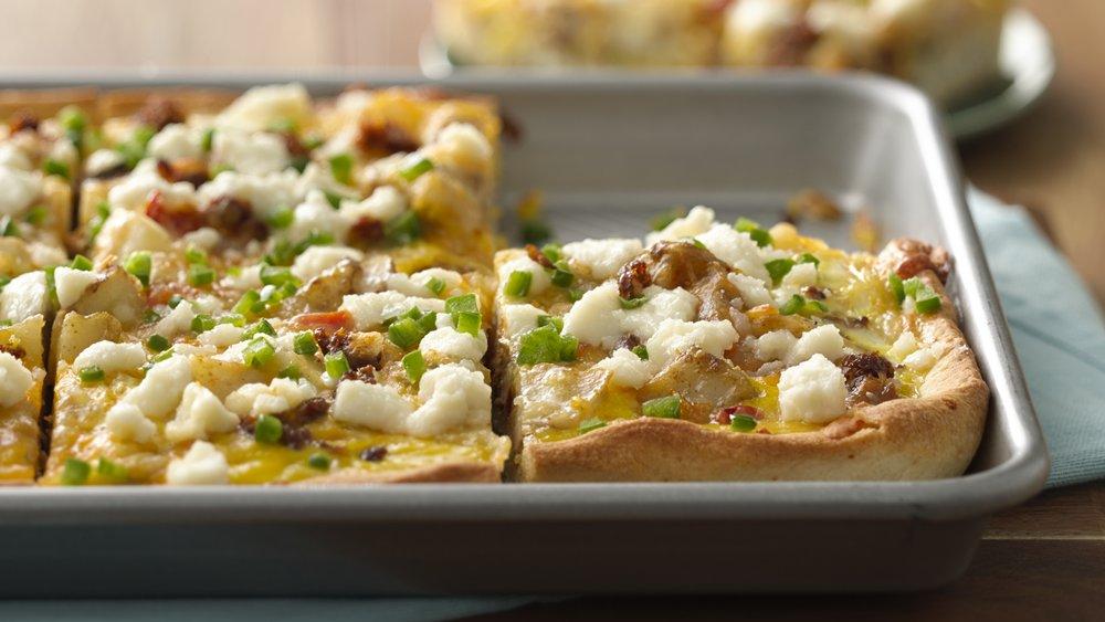 Cheesy Chorizo Breakfast Pizza