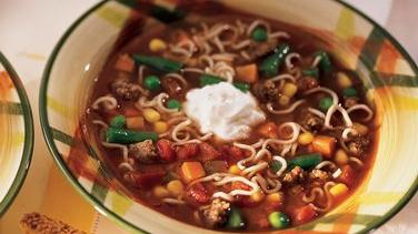 Zesty Beef and Noodle Vegetable Soup