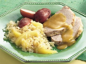 Slow Cooker Pork Roast and Sauerkraut Dinner