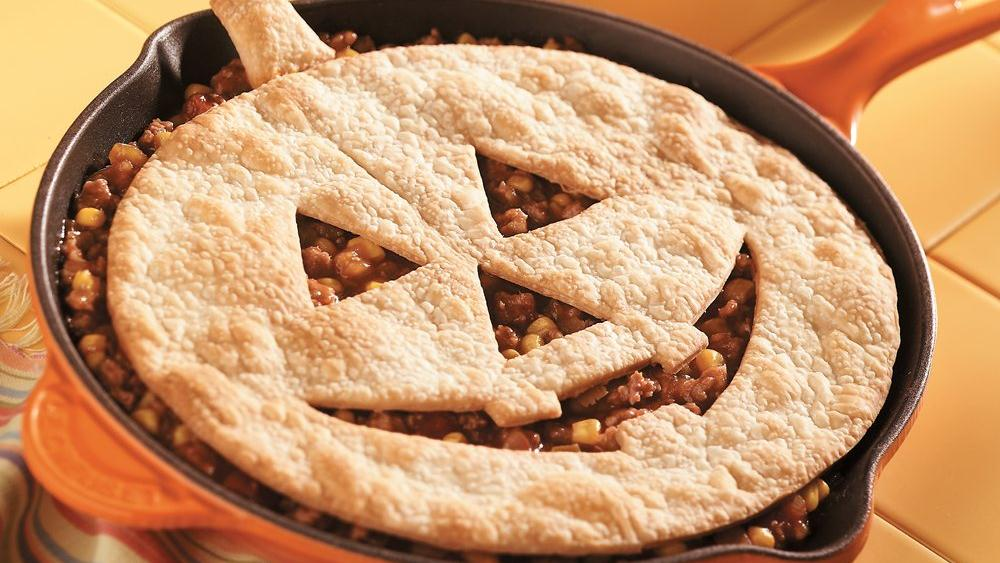 Jack-o'-Lantern Sloppy Joe Pie