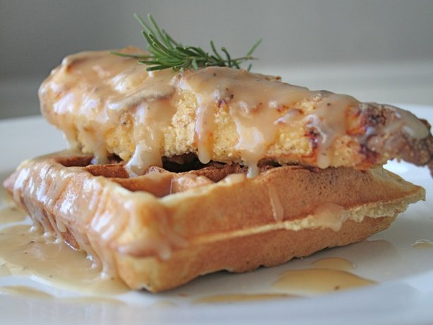Oven Fried Chicken & Waffles with Maple Gravy