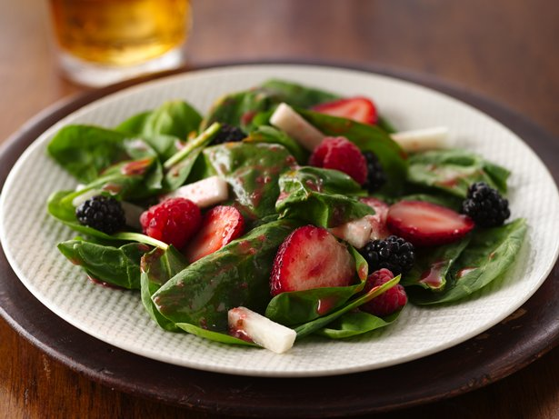 Triple Berry and Jicama Spinach Salad