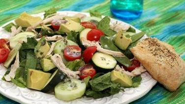 Summer Salad with Buttermilk Dressing and Dill Flatbread