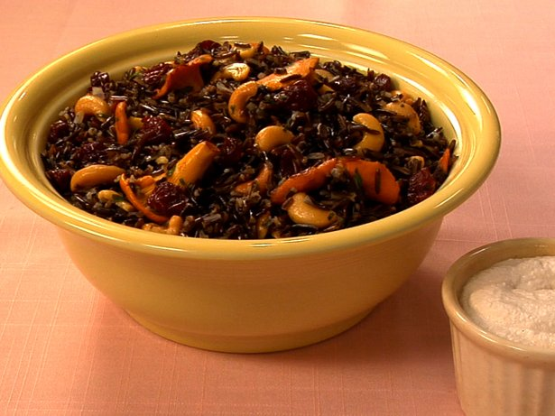 Gluten Free Wild Rice Salad with Chanterelles, Sour Cherries and Cashew Sour Cream