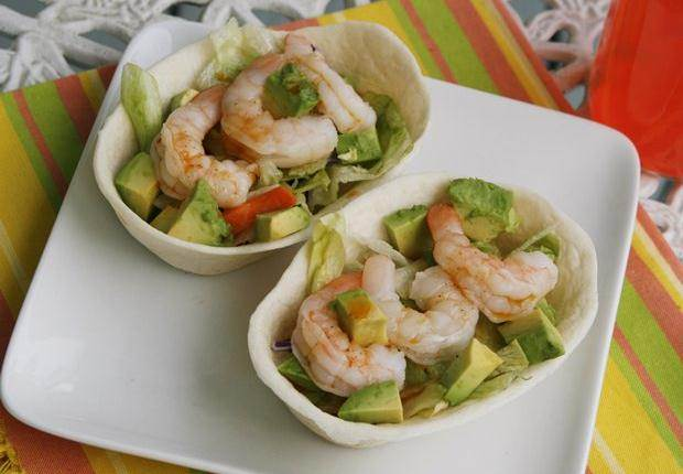 ... shrimp, salad and avocado and then drizzled with a tangy vinaigrette